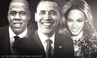 Source. From left to right: Jay-Z, Barack Obama and Beyonce.